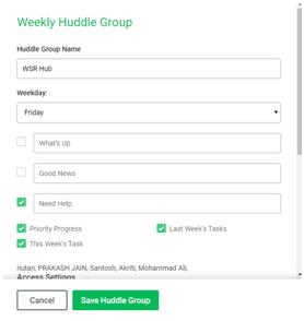 weekly huddle groups